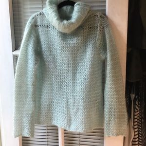The Limited Blue Mohair Cowl Neck Sweater Medium